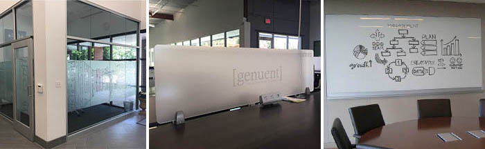 Frosted glass and graphics for the interior of an office