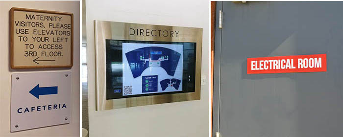 Interior wayfinding and regulatory signs that help direct employees