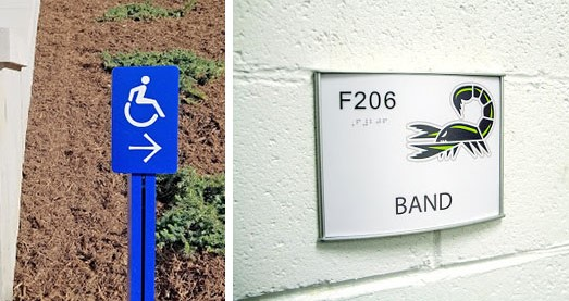 Outdoor and indoor signs that have ADA-compliant color schemes and reading options