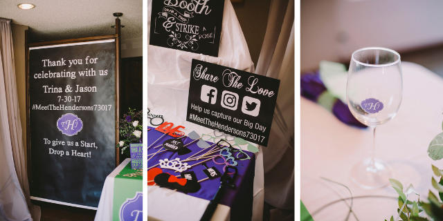 personalized wedding photo booth and glass