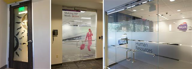 A collection of doors with branding and frosted glass applied