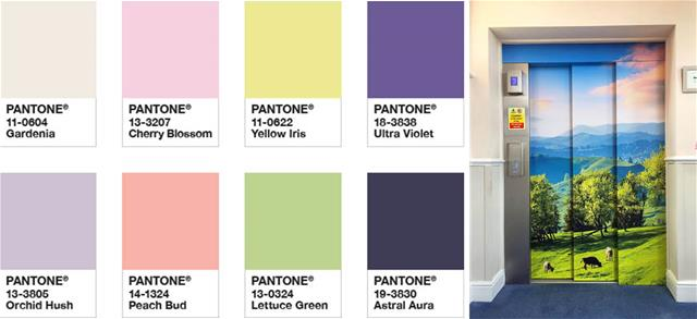 Spring-time Pantone colors and elevator graphics
