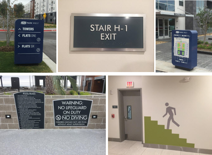 Student housing directional signage and wall graphics