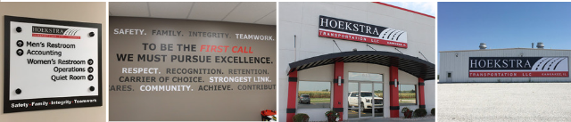 Various outdoor signs and graphics materials for Hoekstra Transportation