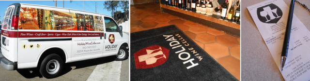 Vehicle wraps, mats, and a branded receipt for Holiday Wine Cellar