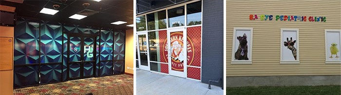 branded window graphics in an open office environment