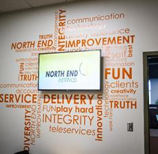 North End Teleservices Wall Lettering And Digital Signage