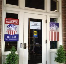 Political headquarters window graphics