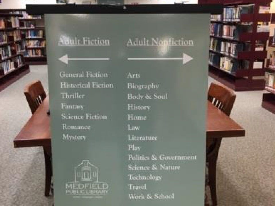 medfield public library - directional signage