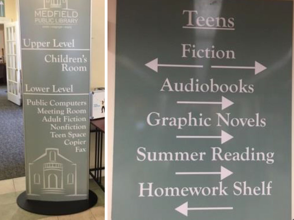 medfield public library - interior directional signage