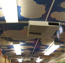 Ceiling tile signage