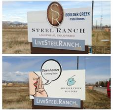 Residential area construction signs