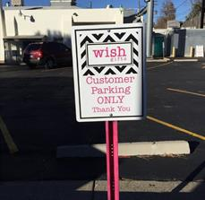 Wish Gifts Customer Parking Sign