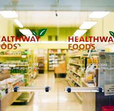 Healthway Foods Window Lettering