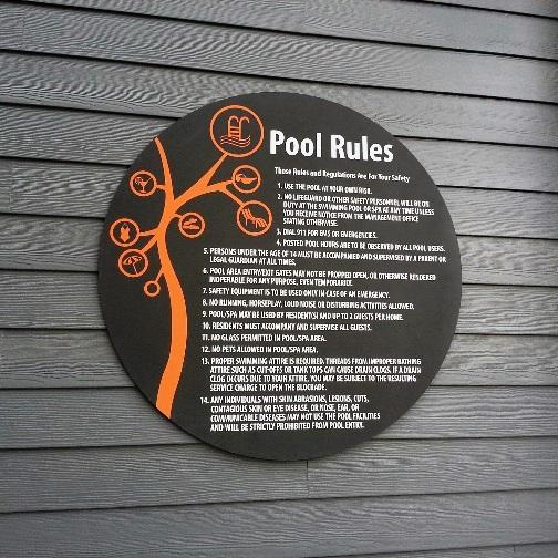 Custom Designed Pool Rules Sign