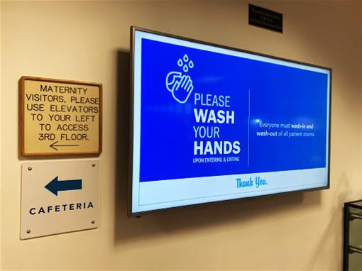 A digital sign with the ability to update messaging as needed.