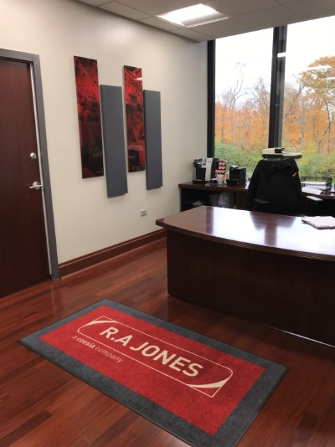 office with branded floor mats
