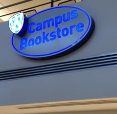 Campus bookstore illuminated signs