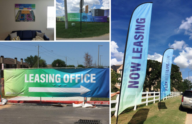 leasing office and 'now leasing' signage