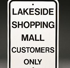 Mall customer parking signs