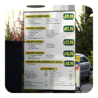 Car Wash Menu Board