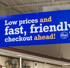 Grocery store point of purchase signs