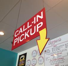 Pick Up restaurant signs