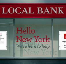 Bank Illuminated Framed Window Displays