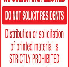 No Distribution Solicitation Sign