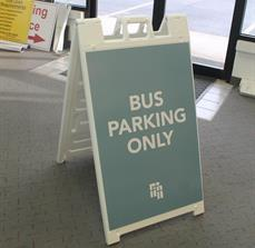 Bus parking a frame sign