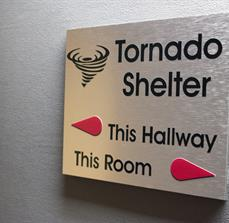 Tornado Shelter Wayfinding And Safety Sign