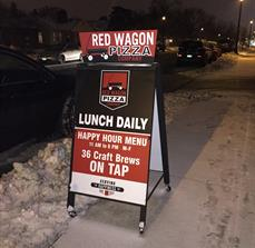 Red Wagon Pizza Company A-Frame Sign