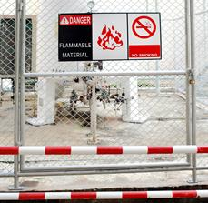 Flammable Material Fence Sign