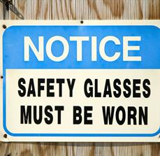 Safety Glasses Notice Sign