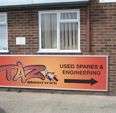 TAZ Motorcycles Building Sign