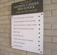 Salpointe Catholic High School Wayfinding Wall Sign