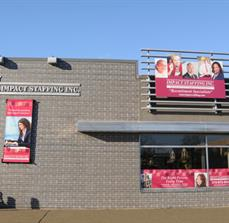 Impact Staffing Window Graphics, Building Signs, and Banners