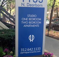 Outdoor apartment signs