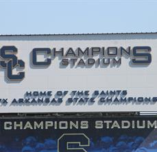Stadium lettering and banners