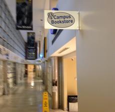 Campus bookstore interior signage