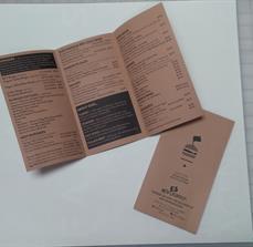 Printed restaurant menus