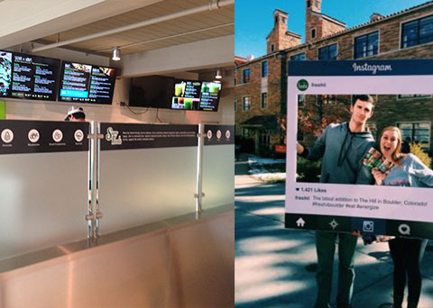 social media post and interior digital signs