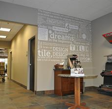 Waiting area wall graphics