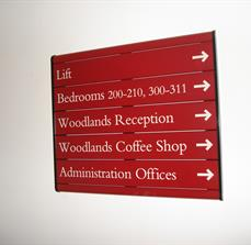 Wall mounted wayfinding signs