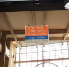 Hanging wayfinding signs