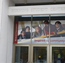 Student center window graphics